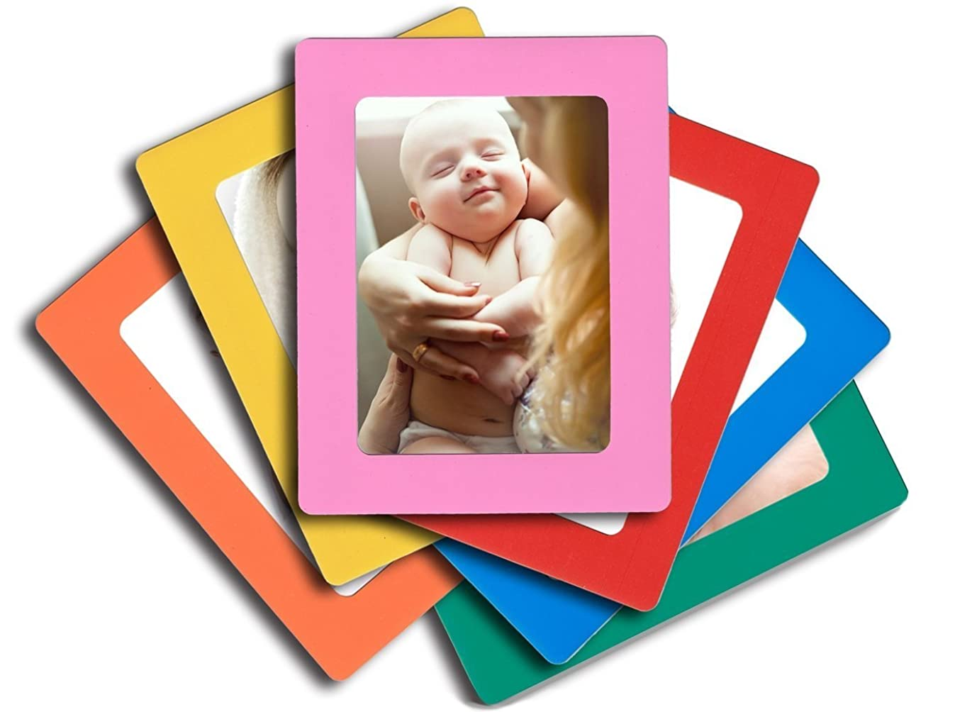 6-pack Magnetic Picture Frames for Refrigerator 4x6 inch colorful photo note schedule holder By Lubber