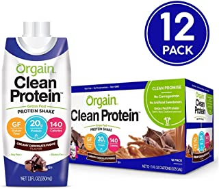 Orgain Grass Fed Clean Protein Shake, Creamy Chocolate Fudge - Meal Replacement, Ready to Drink, Gluten Free, Soy Free, Kosher, Non-GMO, 11 oz, 12 Count