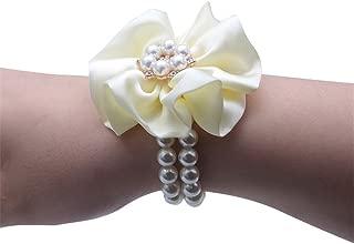 MOJUN Flower Wrist Corsage Pearl Crystal Bridemaid Wedding Prom Bracelet, Pack of 4, Cream