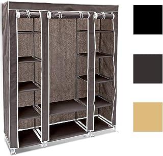 Relaxdays 10018857_139 Armoire en tissu pliante 175,5 x 148 x 43 cm penderie pliable 12 étagères avec tringle à vêtements ...