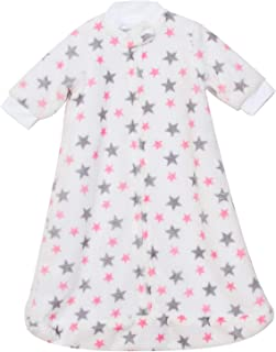 TILLYOU All Season Flannel Fleece Plush Baby Sleep Bag and Sack with Sleeves & Zipper, Fits Infant Newborn Ages 4-9 Months, Super Soft Warm Fuzzy Winter Wearable Blanket TOG 1, Pink Stars