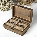 AWEI Holz Schachtel Ringbox Hochzeit Ring Box Eheringe Box Verlobungsring Box 5.9' x 3.9' x 2.17'
