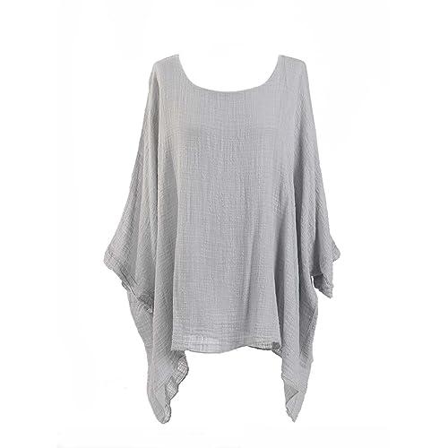 e74ba2036ff New Ladies Lagenlook Batwing Top Women Plain Linen Tunic Top Plus sizes