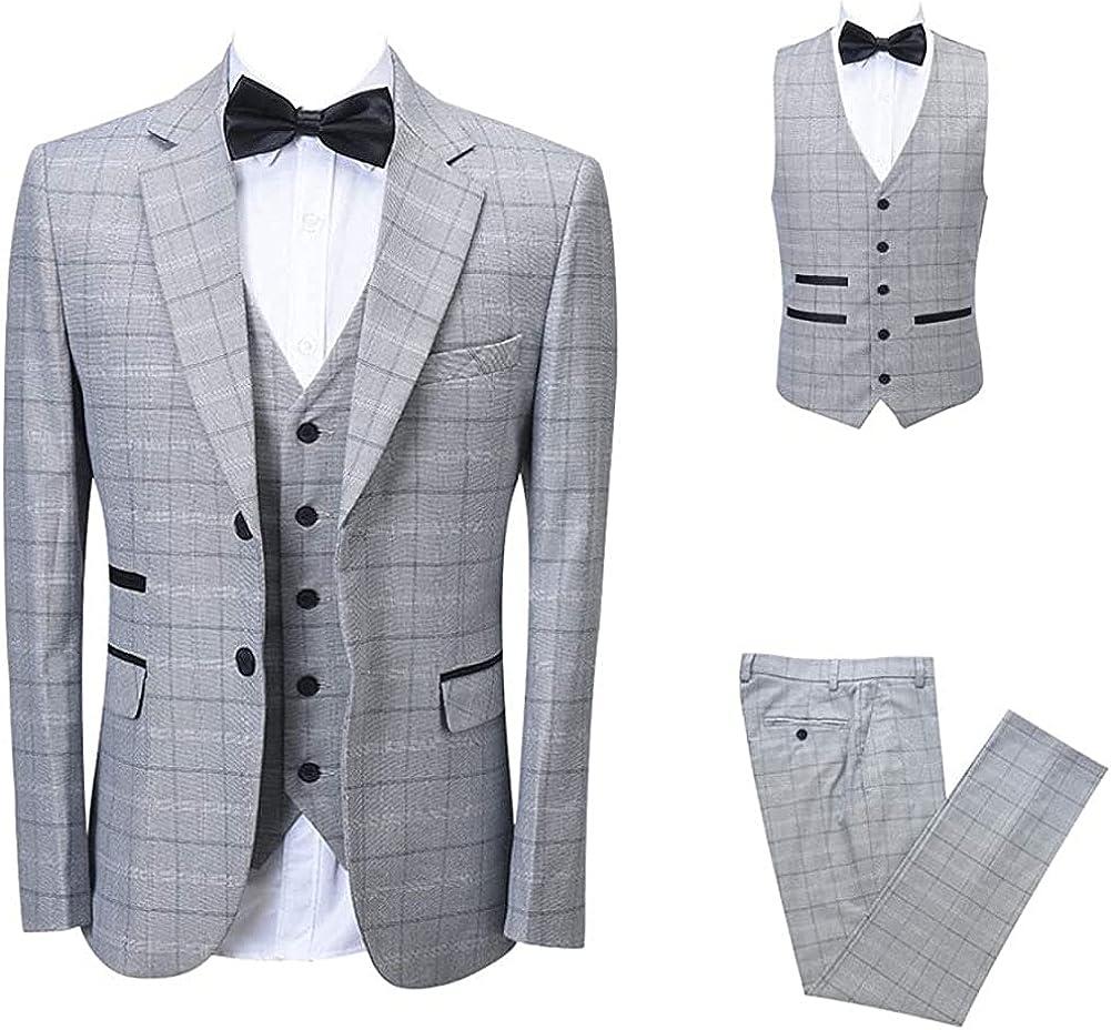 Mens Elegant Light Gray Solid Tailored Notch Lapel Tuxedo Classic Casual Slim Fit Suit