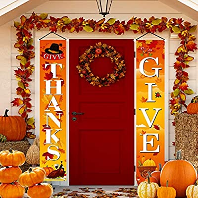 Amazon - Save 50%: ULERSP Fall Harvest Outdoor Porch Sign Banner -Thanks Give for Front Do…