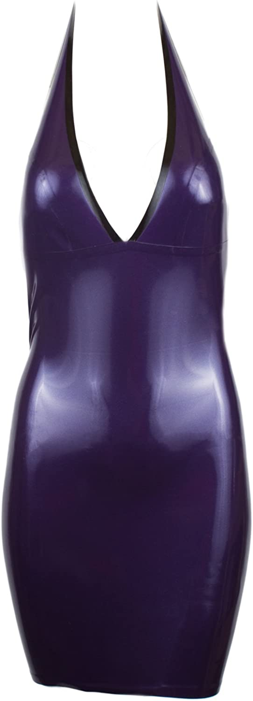 Collective Chaos Latex USA Quality Halter Mini Dress Metallic Purple