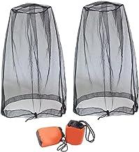 NiceCore Head Net Mesh muggenbescherming gezichtsbescherming net insectenwerend net met tas zwart 2 stuks tuinmeubelen