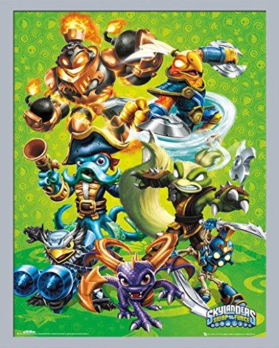 Skylanders - Swap Force - Group Videospiel, Maxi-Poster, Druck Mini Poster - Grösse 40x50 cm + Wechselrahmen, Shinsuke® Mini MDF Silber, Acryl-Scheibe