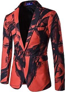 Men's Slim Fit Casual One Button Suits Coat Solid Blazer Business Jacket