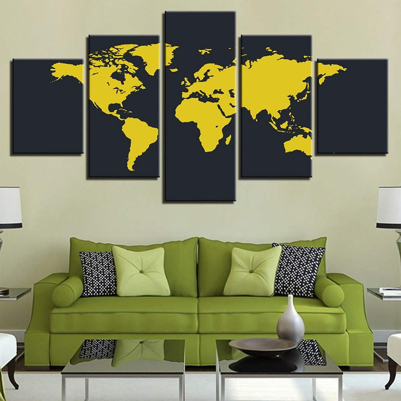 precio mas barato WZYWLH WZYWLH WZYWLH 5 Piezas Lienzo HD Imprime Fotos Amarillo y Negro Mapa del Mundo Pinturas Modulares Decoración para el hogar Sala de Arte de la Parojo Poster Poster  de moda