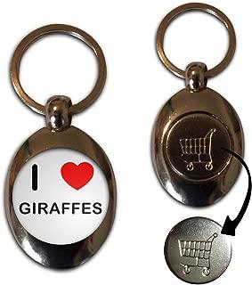 BadgeBeast.co.uk I Love Heart Giraffes - Llavero de fichas de monedas de metal de 1 £ / 1 €