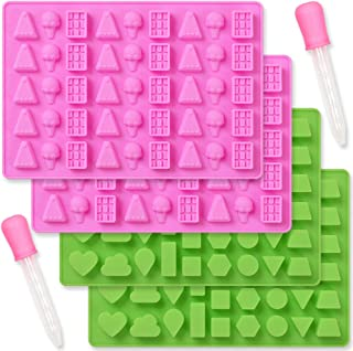 Cozihom Geometric and Ice Cream Style Silicone Gummy Mold, Chocolate Candy Mold, Food Grade Silicone, 4 Pcs with 2 droppers