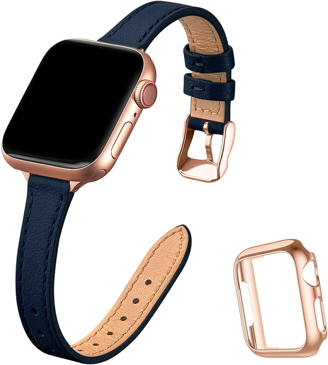 STIROLL Slim Leather Bands Compatible with Apple Watch Band 38mm 40mm 42mm 44mm, Top Grain Leather Watch Thin Wristband for iWatch SE Series 6/5/4/3/2/1 (Black with Black, 38mm/40mm)
