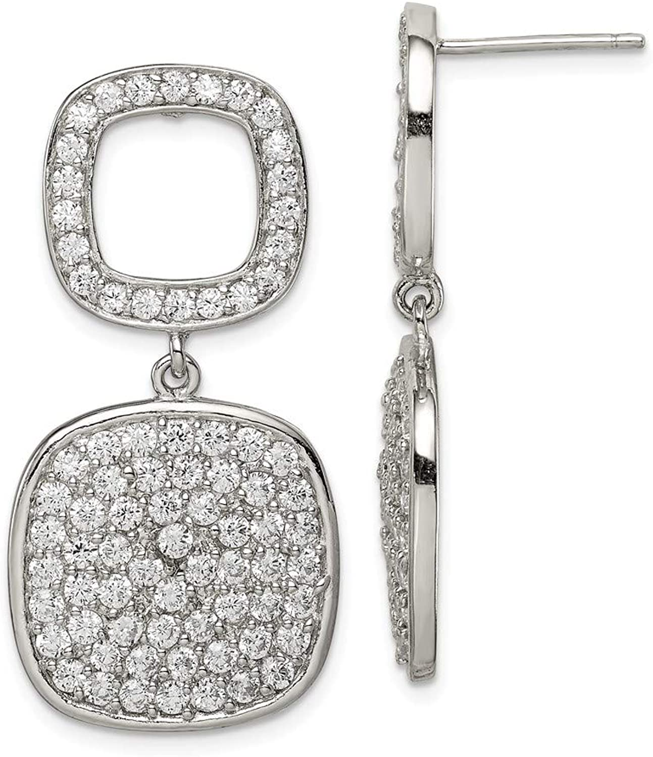 Beautiful Sterling silver 925 sterling Sterling Silver Open CZ Square & Hanging Full Square CZ Post Dangle Earring
