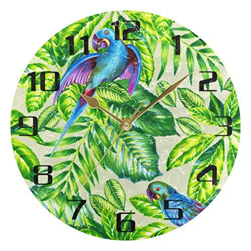 F17 - Reloj de pared redondo con diseño de hojas tropicales de loro, 9,8 pulgadas, PVC, creativo, decorativo, para cocina, dormitorio, baño, sala de estar