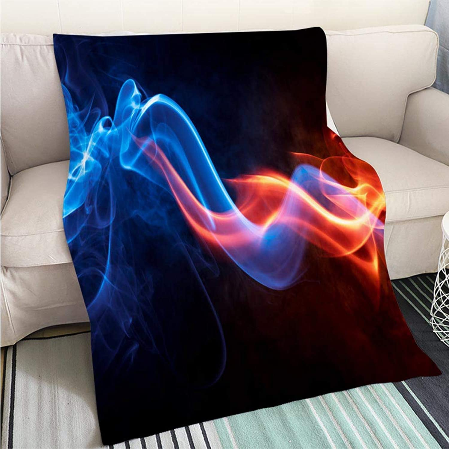 Art Design Photos Cool Quilt Clored Abstract bluee and red Smoke Perfect for Couch Sofa or Bed Cool Quilt