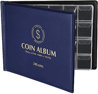 MUDOR Coin Collection Holder Album for Collectors, 240 Pockets Coin Collection Book Supplies (Blue)