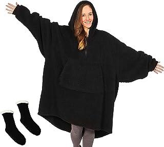 هوديي بطانية بطانية يمكن ارتداؤها بسحاب الربع مع الدفء الناعم،ومناسب للبالغين والرجال والنساء والمراهقين،بحجم واحد