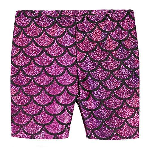 City Threads Girls Underwear Novelty Bike Shorts for Play School Uniform Dance Class and Under Dresses, Mermaid Fuschia, 10