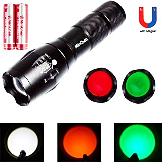 Magnet Flashlight MinChen 1000Lumens XML T6 LED Flashlight Zoomable White Light led Flashlight with Red Lens Green Lens 5 modes High Power T6 led Flashlight with Protected18650 Batteries and Charger