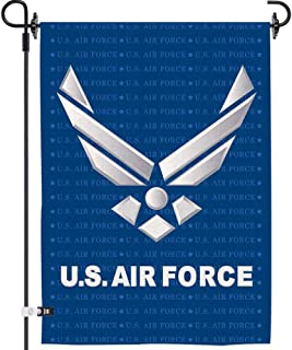 AOKDEER US Air Force Garden Flags Natural Burlap Banners Garden Yard Outdoor Decorations Double Sided Home American Airforce Military Flag 12x18 Inch