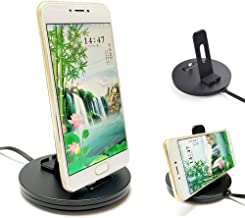USB Type C Charging Dock Sation, Galaxy S9 Desktop Charger, (FastCharge 3.0, Slim Case Supporting) Quick Charging Dock with 5FT Long Power Cable Adjustable Charger for Galaxy S8 S9 S10, Moto Z(Black)