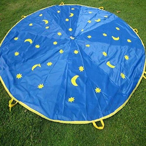 CUTICATE 300cm Kinder Stern & Mond Fallschirm Schwungtuch mit 8 Griffe Im Freien Spiel Familie Übung Sport Spielzeug