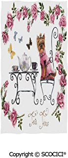 SCOCICI Multipurpose Bathroom Towel,Yorkshire Terrier in Pink Dress Having a Tea Party Tea Time Butterflies Roses Decorative,for Sports and Spa Home Decor