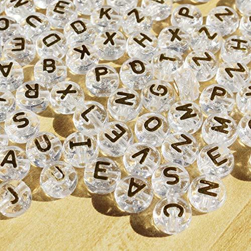 Potosala 500 perlas para pulsera y fabricación de joyas, para adultos, alfabeto, perlas para collares, anillos, fabricación de joyas, accesorios