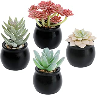 Luyue 4 Pack Potted Fake Succulents Decoration Artificial Succulent Sets with Pot Faux Mini Plants for Flower Arrangement ...