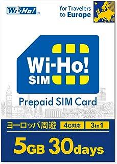 【海外SIMならWi-Ho!SIM】ヨーロッパ周遊 32カ国対応 5GB 30日間 4G LTE データ専用 事前設定不要 SIMピン付き 日本語24Hサポート ドイツ スペイン イタリア スイス フランス