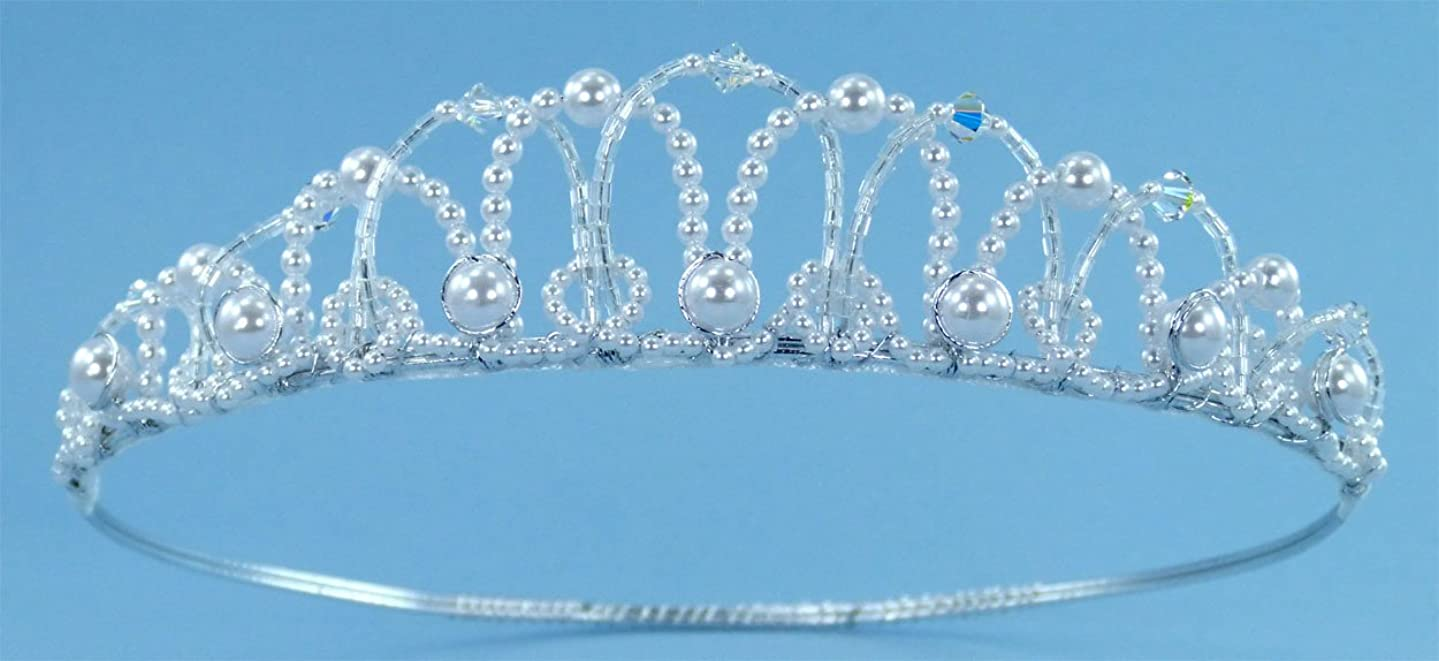 Enchanting Pearly Girl Tiara Crown with Pearl and Bugle Bead Arches Adorned with Crystal Beads and Pearls for Communion, Flower Girl and Other Special Occasions #84C0wcs