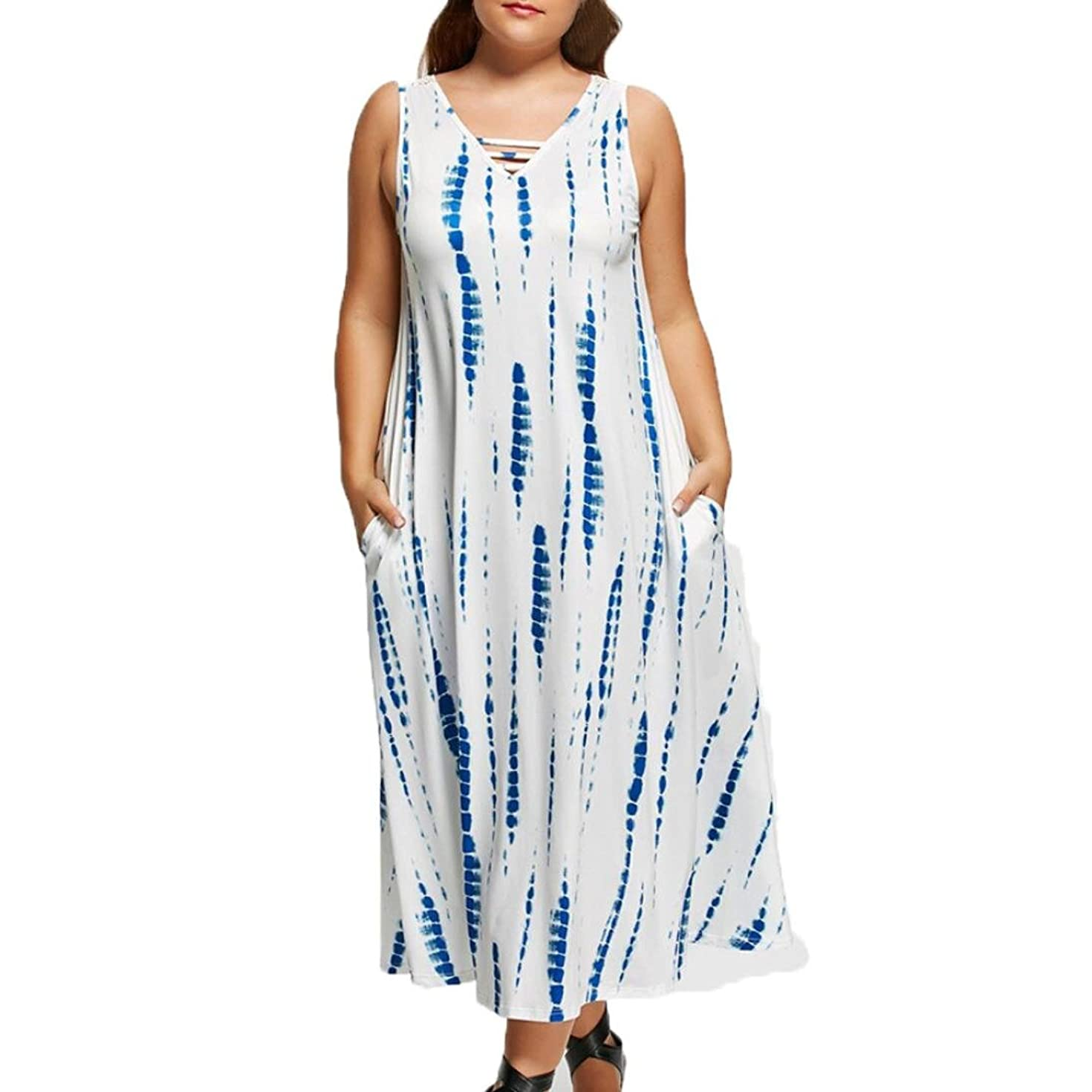 Hot sale!Clearence!Loose Dress Todaies Summer Women Casual Sleeveless Dress Party Lace Loose Beach Dress Plus Size