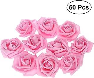Tinksky 50pcs Artificial Floral Foam Roses Flowers for Home Wedding Arrangement Bouquet Decoration (Pink)
