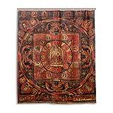 JSTEL Duschvorhang, 152,4 x 183,9 cm, indischer Stil, Buddhismus, Mandala, Thangka, schimmelresistenter Polyester-Stoff