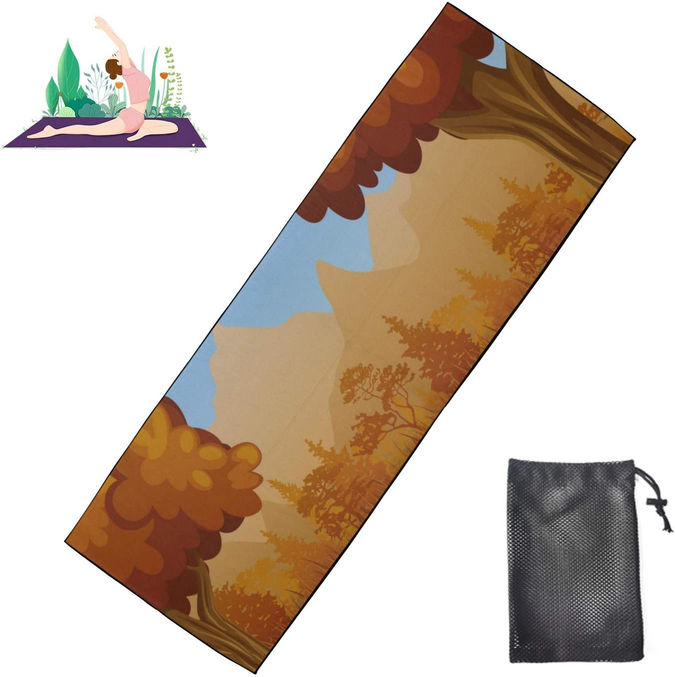 HJSHG Yoga Bombing free shipping Mat Towel Cartoon Autumn with and Max 41% OFF Landscape River Mou