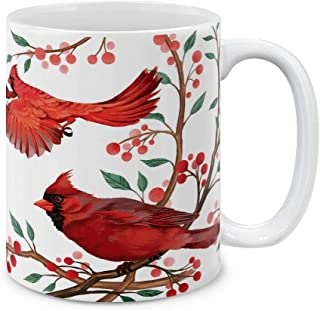 MUGBREW Cute Animal Red Cardinal Birds Ceramic Coffee Gift Mug Tea Cup, 11 OZ