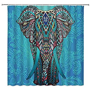 WZFashion Elephant Shower Curtain Set Bohemian India Animal Hippie Ethnic Boho Mandala Colorful African Animal Abstract Vintage Kids Bathroom Home Decor Fabric Bathroom Curtain with Hooks