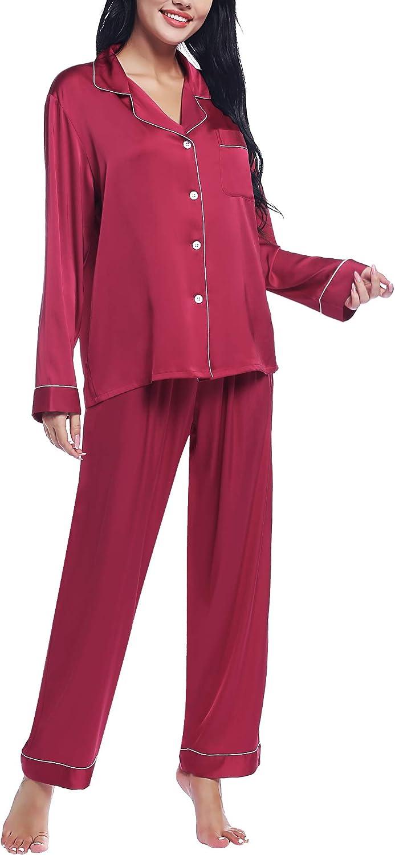Joyaria Women's Silk Satin New life Pajamas - Sales results No. 1 Down Pj Button Long Sleeve