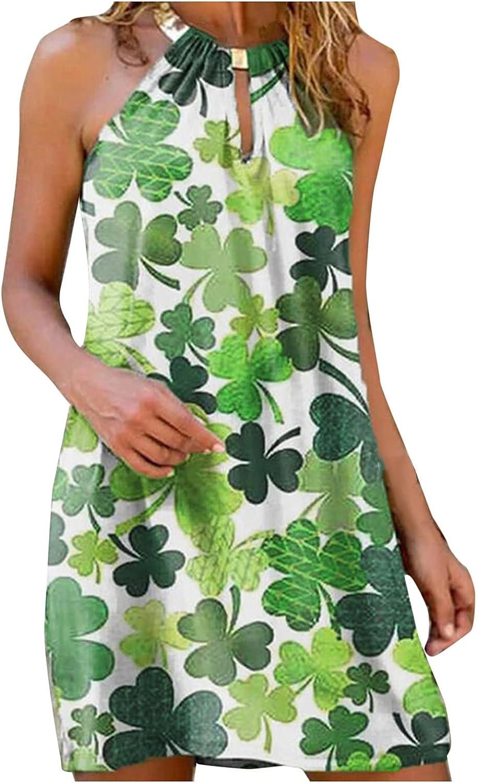 Oiumov Boho Dress for Women Casual Summer Metal Halter Neck Floral Casual Mini Beachwear Dress Sundress Cover Up Dress