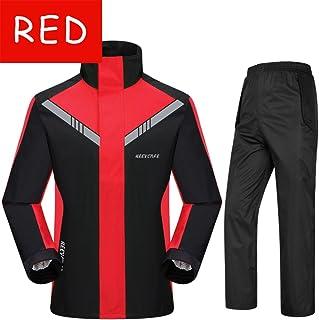 オートバイの電気レインコートのレインコートは、屋外のファッションの乗り物二重通気性のスーツレインコート (Color : Red, Size : XL)