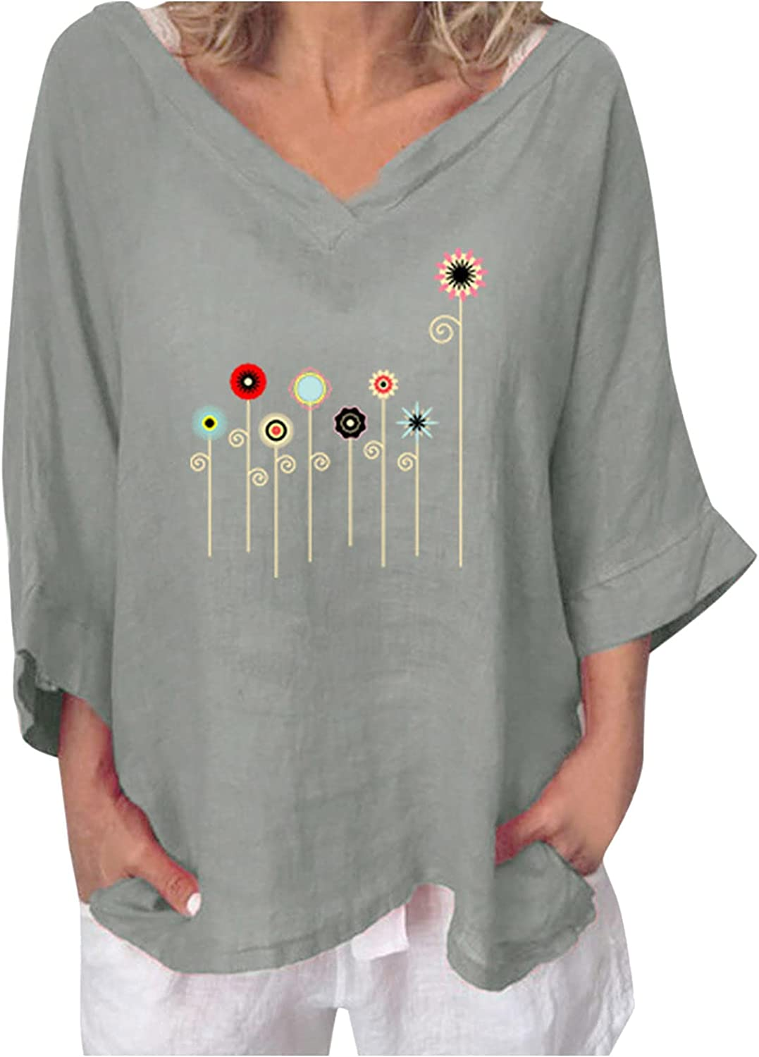 UBST Women's Cute Graphic Long Sleeve T-Shirt Loose Blouses,Casual Deep V Neck Comfy Cotton Tunic Tops 2021 Fall