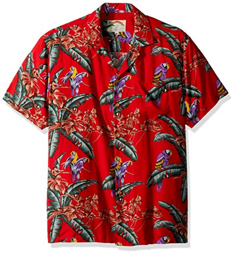 Paradise Found Jungle Bird Red Tom Selleck Magnum PI Hawaiian Shirt,X-Large