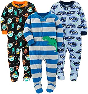 Image of 3 Pack Carter's Fleece Space, Race Car, T-Rex Dinosaur Footed Pajamas for Toddler Boys & Infant Boys - See More 3 Pack Designs