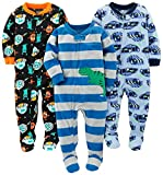 Simple Joys by Carter's Baby Boys' 3-Pack Flame Resistant Fleece Footed Pajamas, Racer Cars/Space/Dino, 12 Months