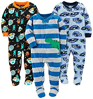 Simple Joys by Carter s Baby Boys  Toddler 3-Pack Flame Resistant Fleece Footed Pajamas Racer Cars/Space/Dino 3T