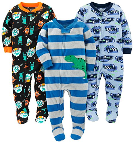 Simple Joys por Carter's Baby and bebé Boys '3-Pack Loose Fit Fleece Footed Pijamas, Racer Cars/Space/Dino, 12 Months