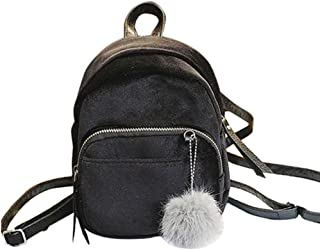 Outsta Mini Fur Ball Backpack, Fashion Shoulder Bag Solid Women Girls Travel School Bags Casual Daypack (Black)