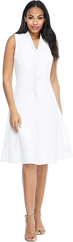 Solid Crepe Fit and Flare with Neck Tie