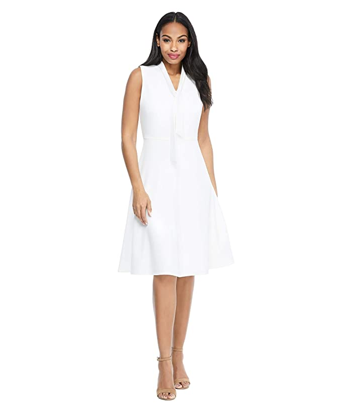 Maggy London  Solid Crepe Fit and Flare with Neck Tie (Soft White) Womens Dress